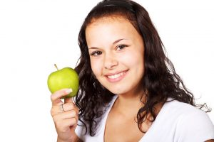 healthy girl with apple