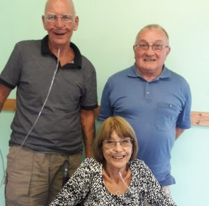 Accessing the new COPD community clinic in Spalding, Terry Littlewood (back, right), Dennis Burke and Pauline Spring