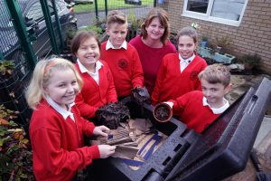 St.Bartholomews year 5/6 members of the Willow Enterprise Team and Gardening Leader Helen Thorley